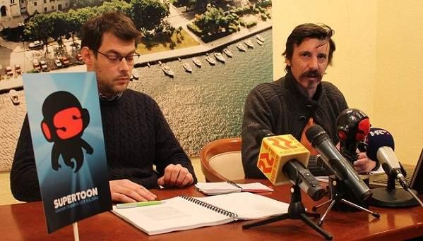 Supertoon - direktori festivala Petar Trebotić i Slave Lukarov na konferenciji za novinare u Press centru HND-a (Foto: Hrvoslav Pavić)
