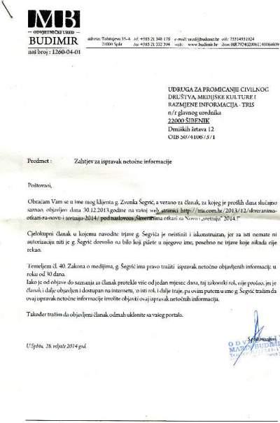 Zvonko Šegvić: Zahtjev za ispravak netočne informacije