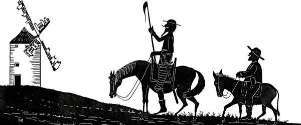 Ilustracija: Don Quijote i Sancho Pansa u pohodu na vjetrenjače