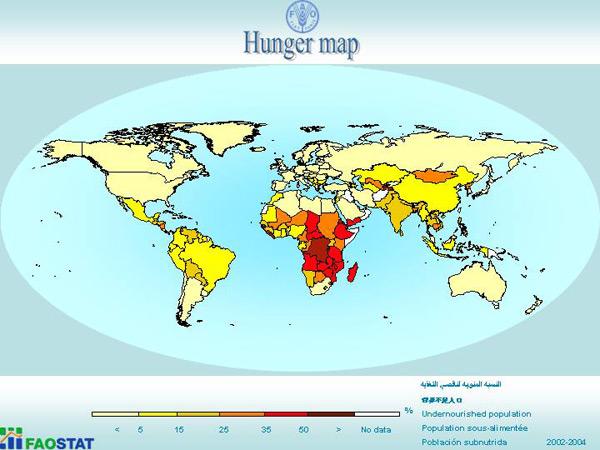 Mapa svjetske gladi (FAO)