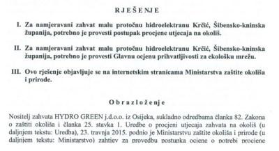 Dio Rješenja Ministarstva