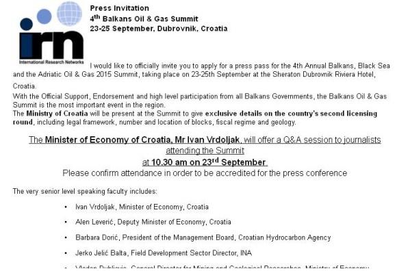 Iz obavijesti o summitu u Dubrovniku: najava 'ekskluzivnih pojedinosti'
