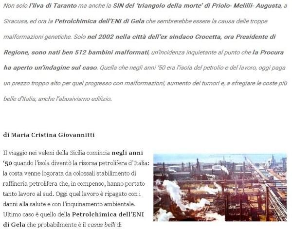 Članak iz talijanskih medija o rođenu 512 novorođenčadi s malformacijama u Geli (izvor: www.infiltrato.it)