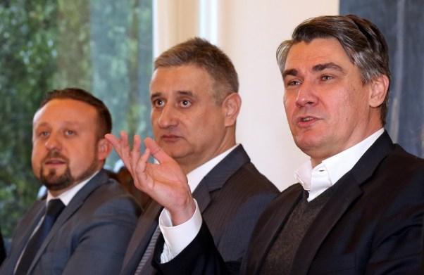 Čelnici koalicije Hrvatska raste i Domoljubne koalicije Zoran Milanović i Tomislav Karamarko danas kod predsjednice (Foto Hina/Damir Senčar)