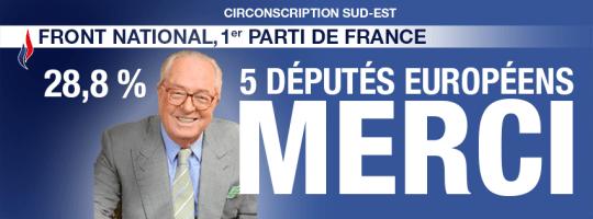 Protueuropski tata Le Pen na nedavnim izborima zahvaljuje glasačima tadi petorice zastupnika koji su izabrani za EU parlament (foto Facebook)