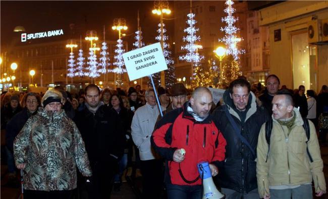 Večerašnji prosvjedi - foto HINA/ Lana SLIVAR DOMINIĆ