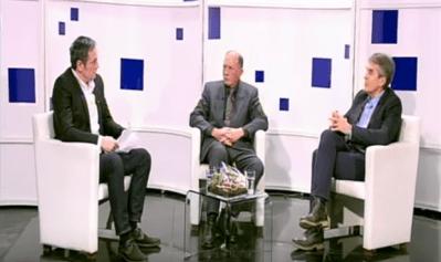 Voditelj Marko Jurič sa svojim gostima publicistom Damirom Borovčakom i povjesničarem Josipom Jurjevićem u emisiji 'Markov trg' televizije Z1 (Printscreen YouTube)