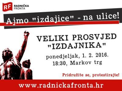 Veliki prosvjed 'izdajnika': Svi su dobrodošli – u ponedjeljak u 18.30 sati na Markov trg