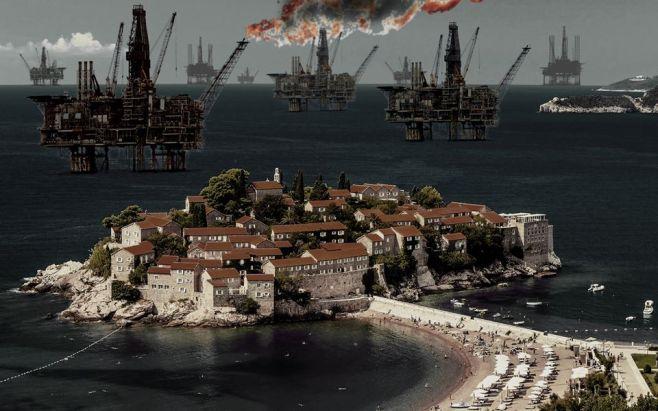Ilustracija: Sveti Stefan s naftnim platformama (izvor Naš Jadran)
