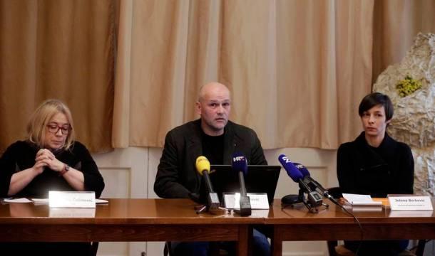 Na slici Nadežda Čačinović, predsjednik HND-a Saša Leković, predsjednik HND-a i izvršna direktorica GONG-a Jelena Berković. foto HINA/ Denis CERIĆ