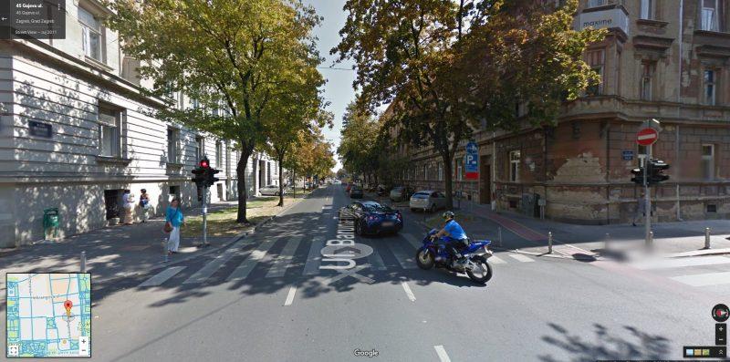 Križanje Gajeve i Trenkove u Zagrebu (foto Google karte)