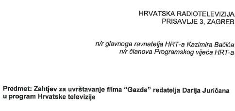 Preslik dijekla zahtjeva upućenog HTV-u