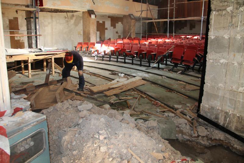 Kino Odeon, snimka iz 2013. kada je počela obnova/Foto: Grad Šibenik