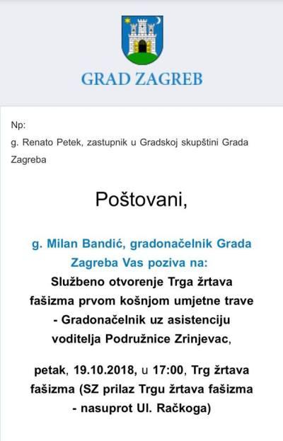 M. Bandić se ruga građanima: Zove na svečanu košnju umjetne trave u 17 sati na Trg žrtava fašizma