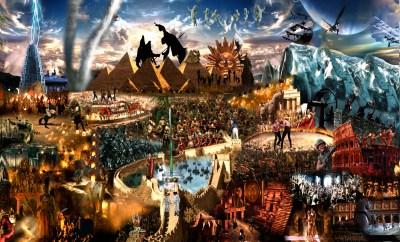 Ilustracija o ljudskoj povijesti (foto printscreen Marc Brambilla 'Evolution Megaplex' youtube)