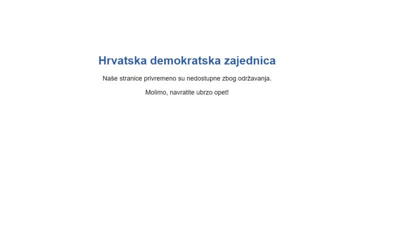 Ilustracija: printscreen HDZ-ove internetske stranice u kvaru