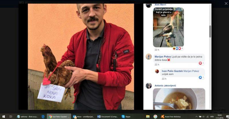 Nogometaš koji je šutirao kokoš se šali na Facebooku (foto Prijatelji životinja)