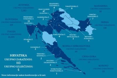 Hrvatska, 20. ožujka 2020. ujutro: 113 zaraženih osoba u Hrvatskoj, pet osoba je ozdravilo