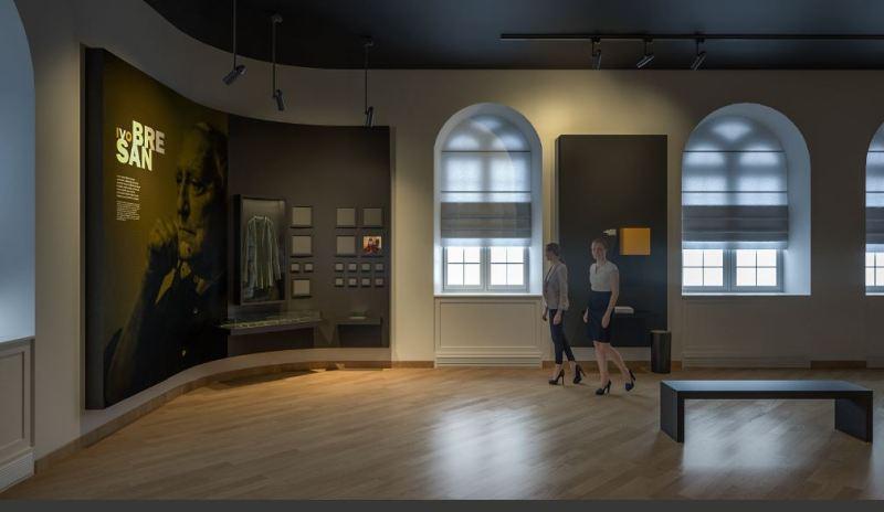 Memorijalna soba Ive Brešana u šibenskom Kazalištu: Knjige, radni stol, pisaća mašina, čak i Badelova šljivovica u Brešan baru…
