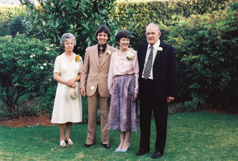 An image of parents of the groom ,Graham Booth,  Joyce and Albert Booth, flanking Kathleen and Graham Booth on their wedding day.