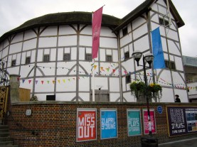 The outside of the remake of the Globe Theatre.