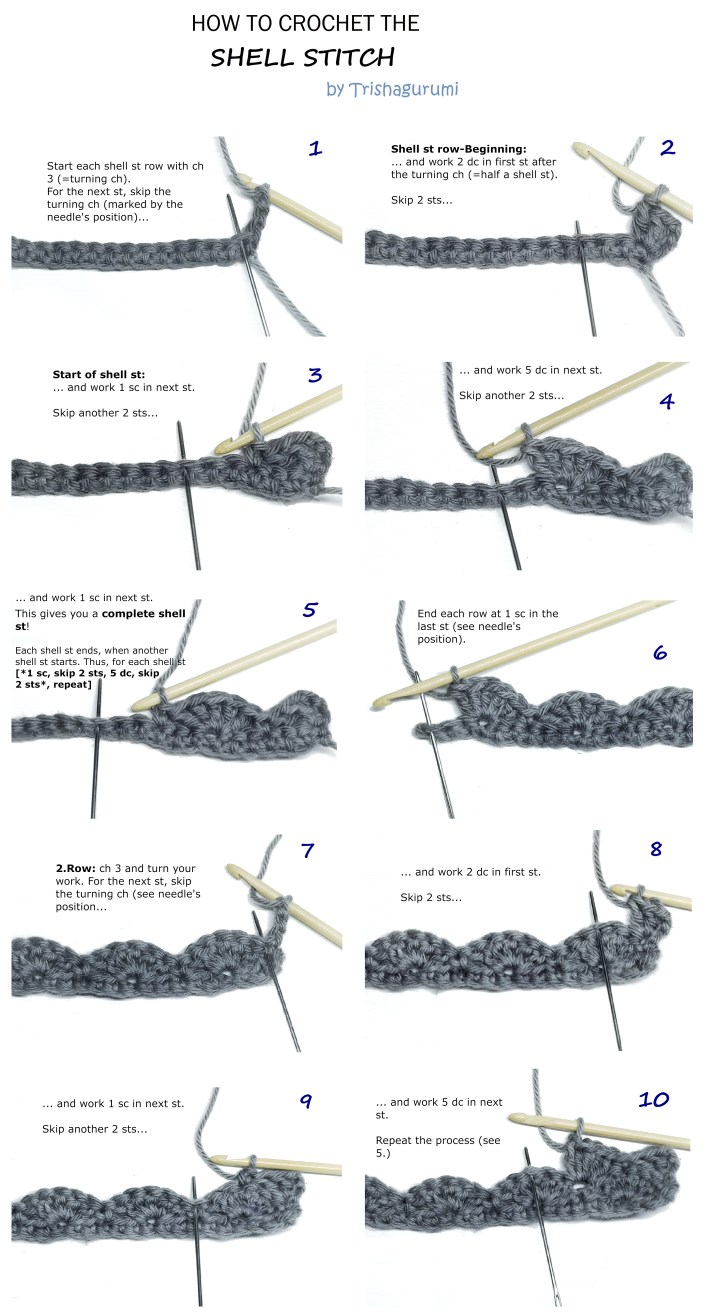 How to make a crochet shell stitch