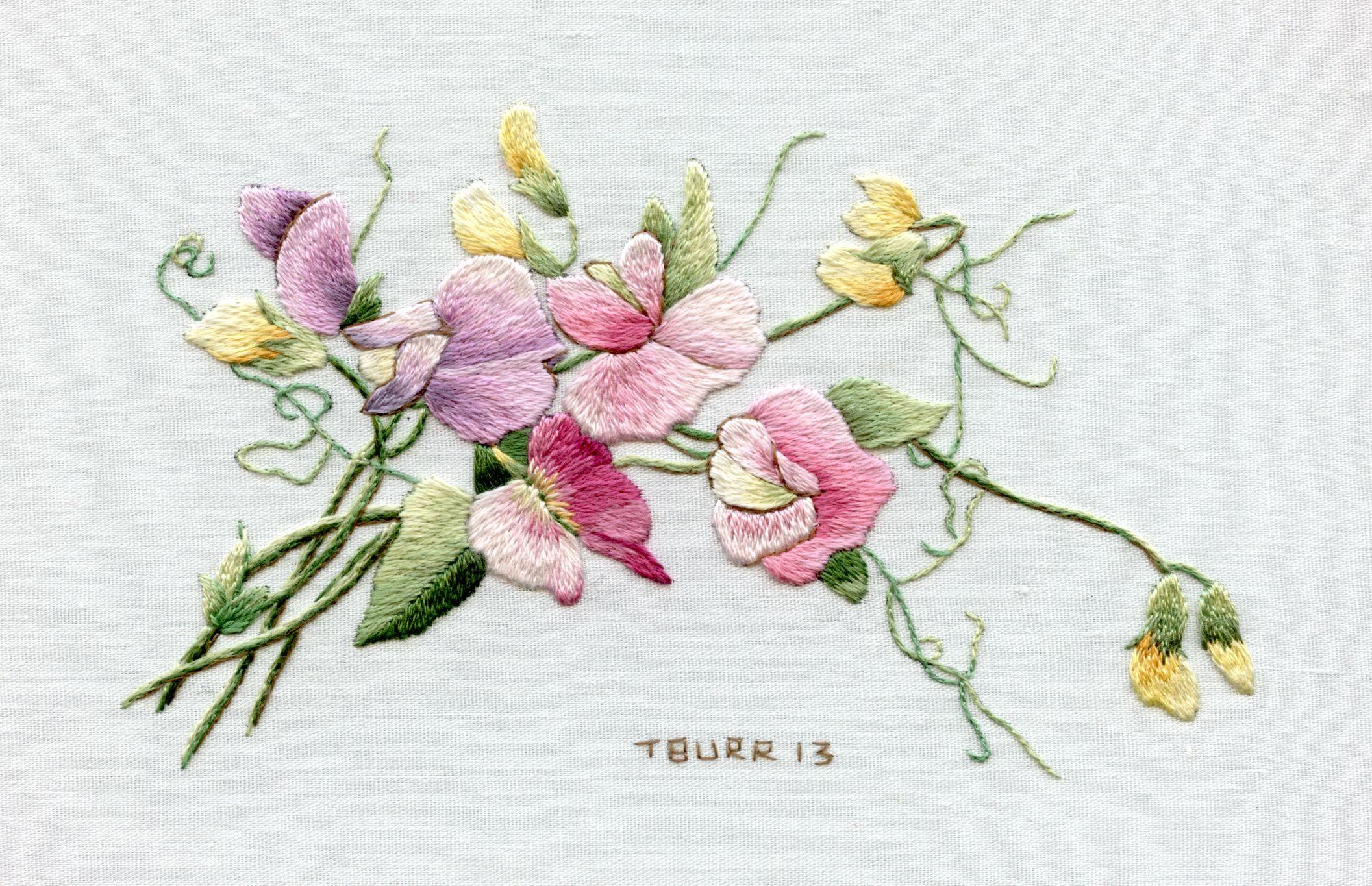 Sweet Peas Trish Burr Embroidery