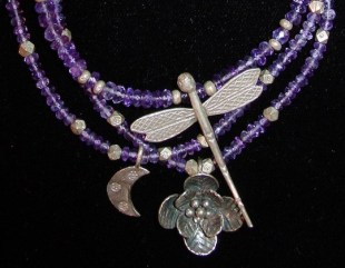 Thai silver pendants on primitive amethyst; I like using primitive materials. They are a bit less expensive and looked appropriate with some of the tribal pieces.