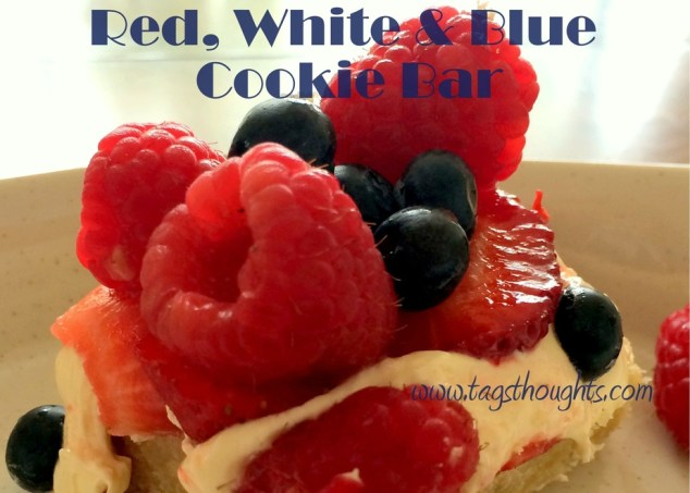A tasty treat made with fresh fruit. Enjoy the fruits of the Spring & Summer seasons with this Red, White & Blue Cookie Bar Recipe by trishsutton.com.