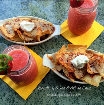 Strawberry 'Rumarita' & Baked Enchilada Chips make for a tasty Happy Hour of a refreshing frozen concoction and a simple Mexican appetizer. TrishSutton.com