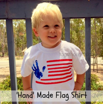 Handmade Flag Shirts; A fun way to show patriotism on Memorial Day, Flag Day, Independence Day and at Summer BBQs. Patriotic Shirt created by kids.