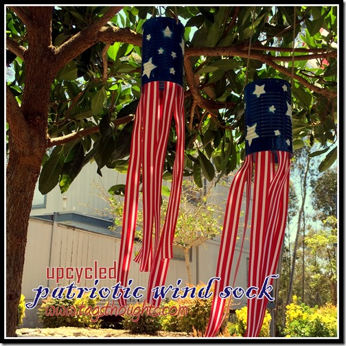 Upcycled Patriotic Wind Sock Yard Decor by trishsutton.com