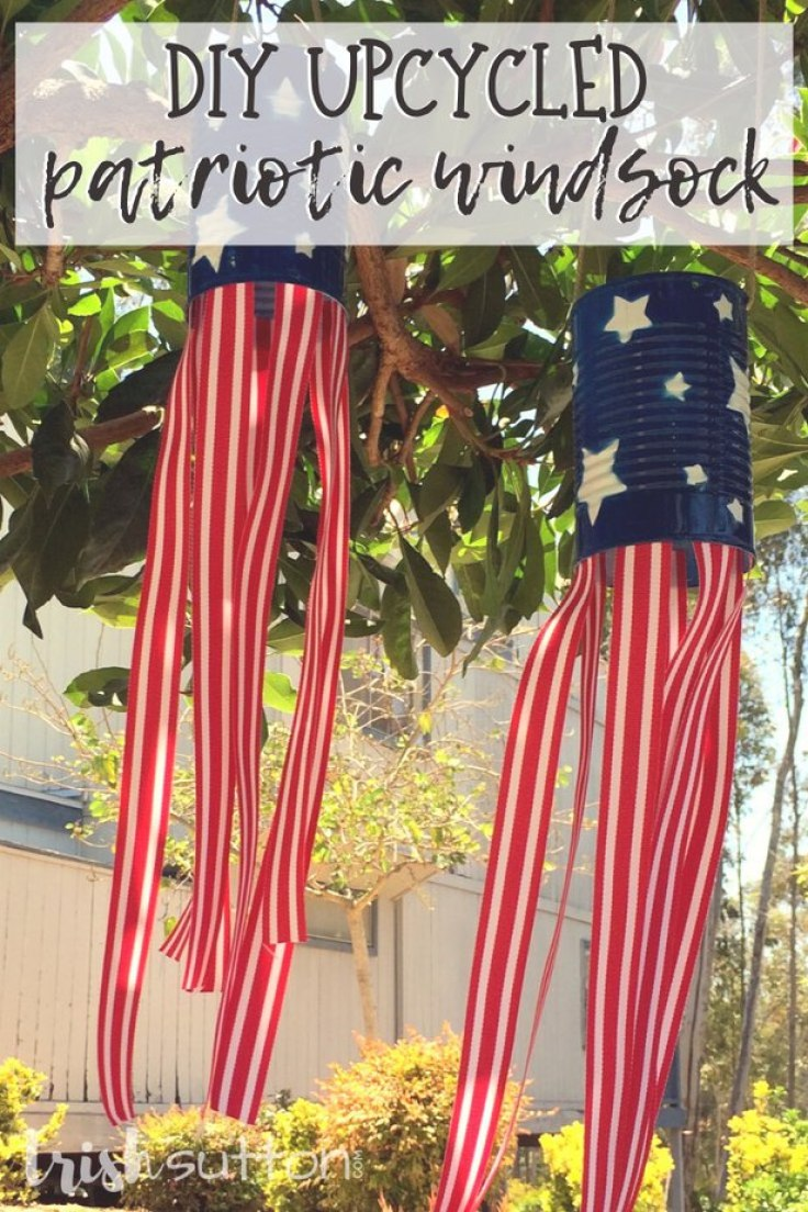 Create festive outdoor decor just in time for Memorial Day, Flag Day and Independence Day. Upcycled Patriotic Wind Sock DIY Tutorial.