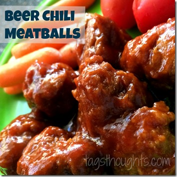 Beer Chili Meatballs. Just five minutes, four ingredients and a crock-pot are needed. Recipe by TrishSutton.com.