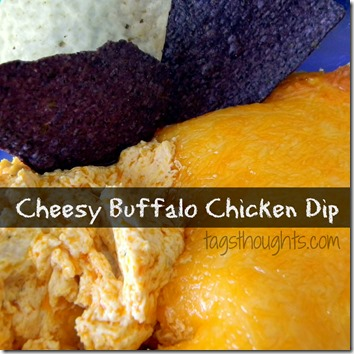 This Cheesy Buffalo Chicken Dip is AMAZING.  It tastes great with chips, celery, or ON a spoon! Game Day Recipe by TrishSutton.com.
