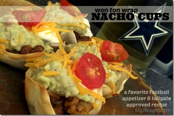 Won Ton Wrap Nacho Cups Recipe; perfect for game day or for dinner any day. Ready in 30 minutes and they are absolutely delicious! TrishSutton.com