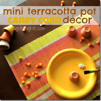 Mini Terracotta Pot Candy Corn Decor by TrishSutton.com