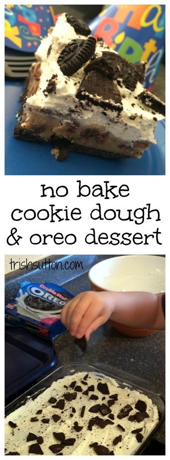No Bake Cookie Dough & Oreo Dessert, TrishSutton.com