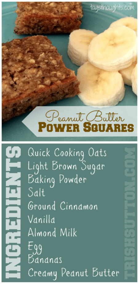 Peanut Butter Power Squares. Made with Oats & Bananas; they make a simple breakfast on the go and serve as a perfect after school or pre workout snack. TrishSutton.com