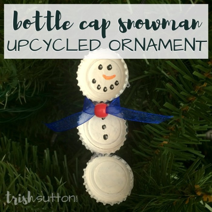 Upcycle bottle caps to create cute Christmas tree ornaments. This simple creation is perfect for kids & adults alike. Bottle Cap Snowman Ornament.
