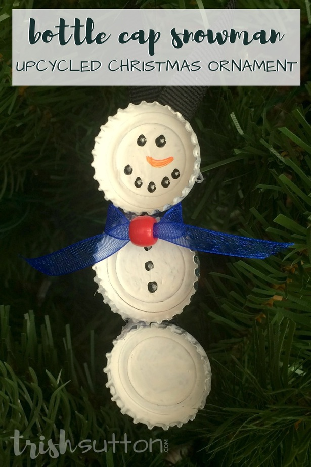 Upcycle bottle caps to create cute Christmas tree ornaments. This simple creation is perfect for kids & adults alike. Bottle Cap Snowman Ornament. TrishSutton.com #snowman #ornament #upcycle #snowmen