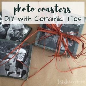 DIY Ceramic Tile Photo Coasters make a lovely homemade gift! A creative gift for friends, family & especially grandparents. TrishSutton.com