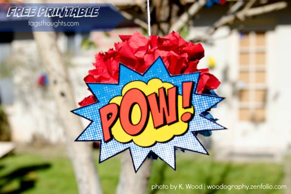 Superhero Puffs by trishsutton.com with Free Printable #superhero #tissuepuffs #partydecor