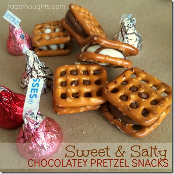 Sweet & Salty Chocolatey Pretzel Snacks by trishsutton.com #hersheys #kisses #hugs #chocolate #pretzels
