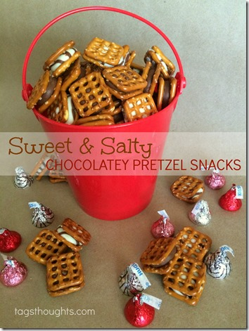 Sweet & Salty Chocolatey Pretzel Snacks by trishsutton.com #hersheys #kisses #hugs #chocolate #pretzels #snacks