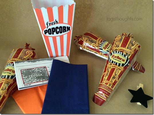Movie Night Gift Basket Contents by trishsutton.com