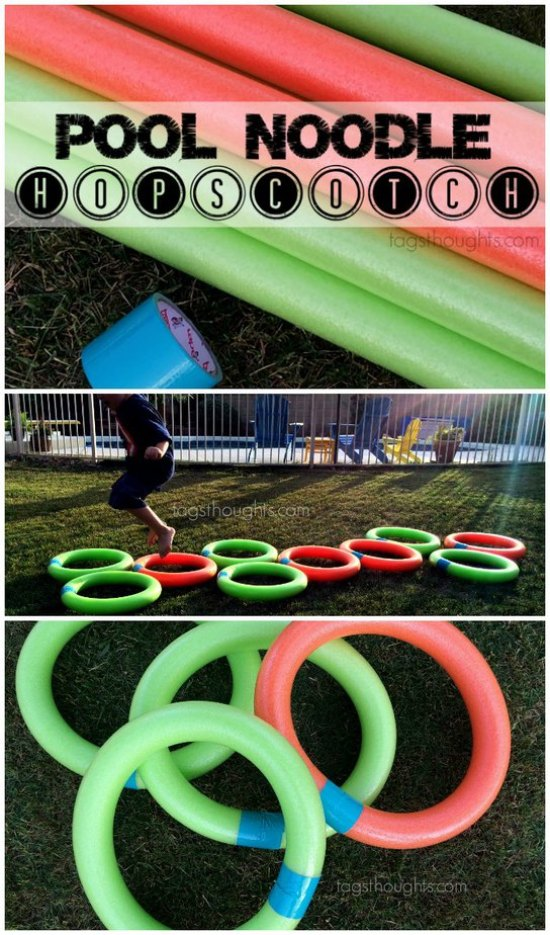 Pool Noodle Hopscotch; Yard Game for Kids, DIY by TrishSutton.com