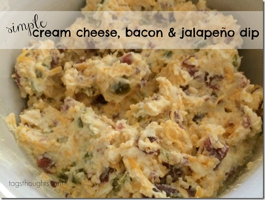 Simple Cream Cheese, Bacon & Jalapeño Dip by TrishSutton.com