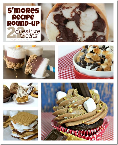 Smores Recipe Round-up; 22 Creative Treats made with Marshmallows, Chocolate and Graham Crackers.