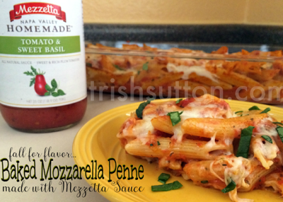 Baked Mozzarella Penne; A simple family recipe for fall and football season! Mezzetta is giving away a Perfect Pasta Night Kit & a $500 grocery gift card. https://ooh.li/26ecc3a #fallforflavor TrishSutton.com